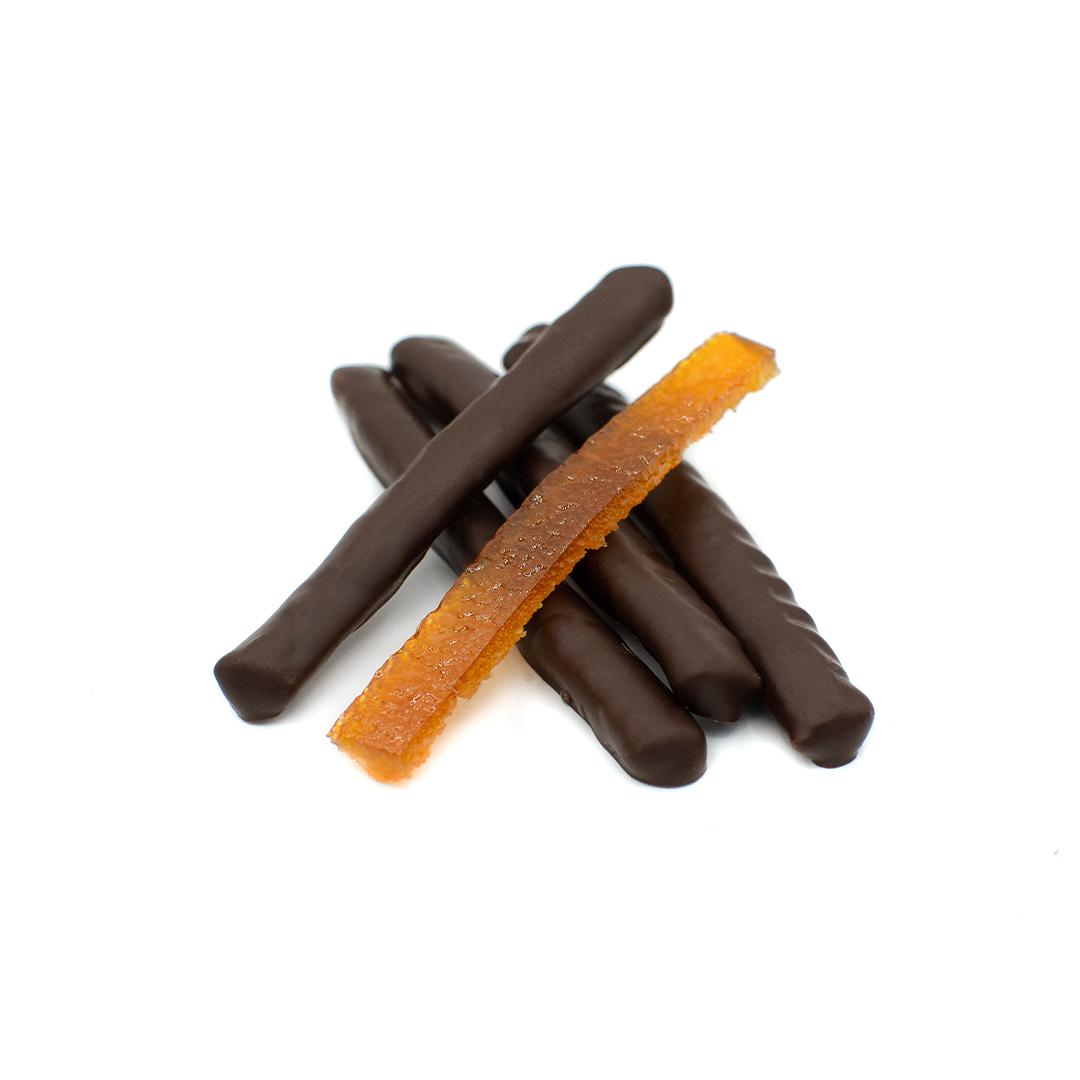 orange confite enrobée de chocolat noir