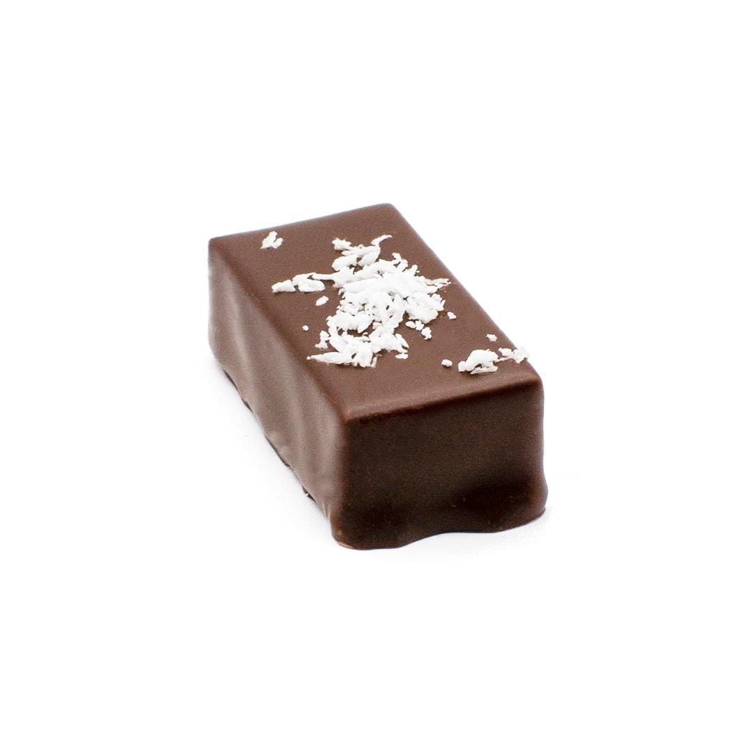 praline ganache à la noix de coco, chocolat noir