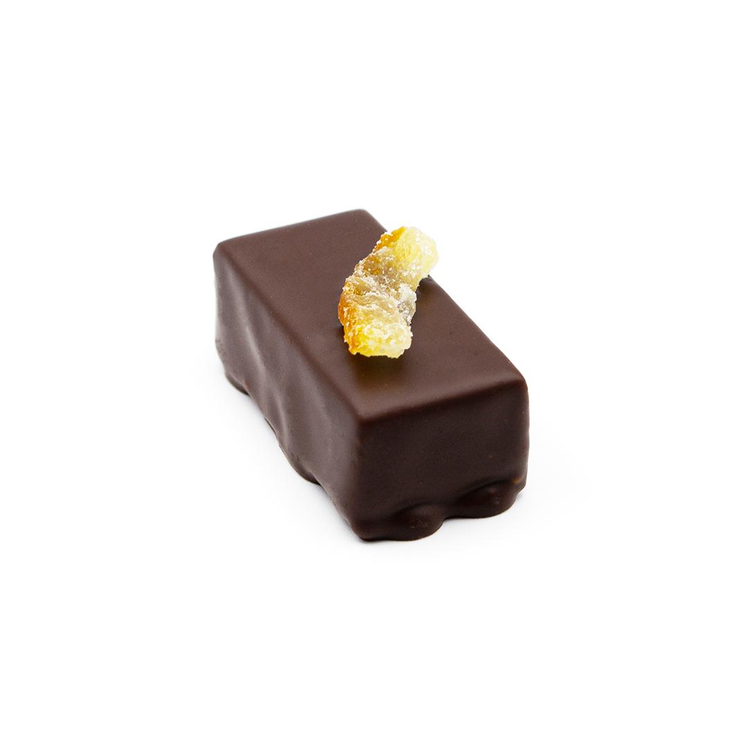 praline ganache au yuzu, chocolat noir